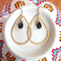 Gold teardrop earrings, Gold hoop earrings w/ quartz droplets, Gold teardrop hoops