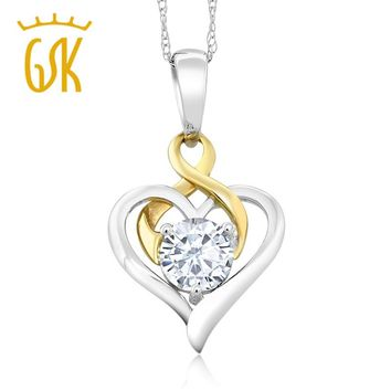 GemStoneKing Moissanite Jewelry 10K Two-Tone Gold 0.50Ct Round White Created Moissanite Heart Pendant Necklace For Women
