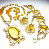 Art Deco Necklace Bracelet Earrings Czech Amber Glass Enamel Jewelry Set