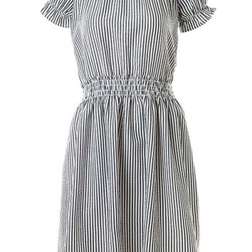 Streetstyle  Casual Pinstripe Off Shoulder Elastic Waist Skater Dress