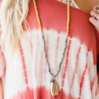 Tassel & Horn Pendant Necklace