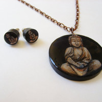Hand Painted Buddha Necklace and Stud Earring Set - Wearable Art Buddhist Jewelry - Gift Wrapped for the Holidays