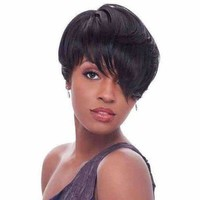 Short Inclined Bang Straight Synthetic Wig - Black | Fwresh Beauty