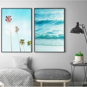Nordic Palm Surf Scenery 3 Pieces Decor Printed Canvas Art Posters for Living Room Wall Art Pictures Home Decor no Frame