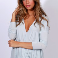 Everyday Classic Wrap Top Blue