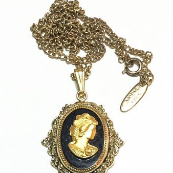 Whiting and Davis Cameo Pendant Necklace, Antiqued Goldtone, Gold and Black Cameo, Hangtag, Long Chain, 1950s