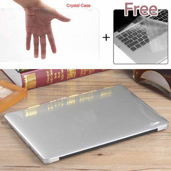 "Hot Glossy Crystal Clear Hard Plastic Laptop Case + Keyboard Cover for Macbook Air Pro Retina 11"" 12"" 13"" 15"""