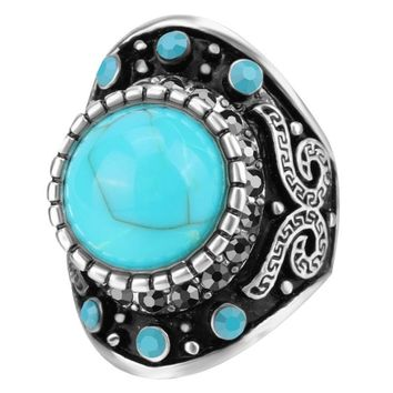 Retro Punk Blue Turquoises Rings Men Vintage Antique Silver Black Ring Male Fshion Ring Jewelry