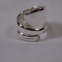 A Spoon Rings Plus Double Wrapped Spoon Ring Size 9 1/2 Vintage Spoon and Fork Rings t150