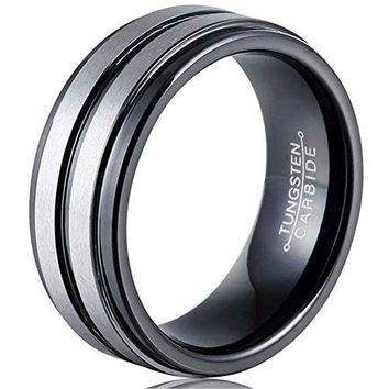 8mm Black Silver Tungsten Carbide Ring Simple Style Groove Wedding Jewelry Engagement Promise Band for Him Matte Finish (Platinum)