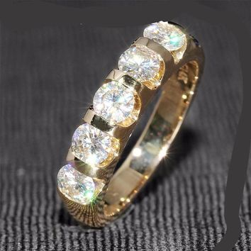 1.25 Ct F Color Wedding Band Half Eternity Band Matching Moissanite Diamond Band Genuine 14K 585 Yellow Gold