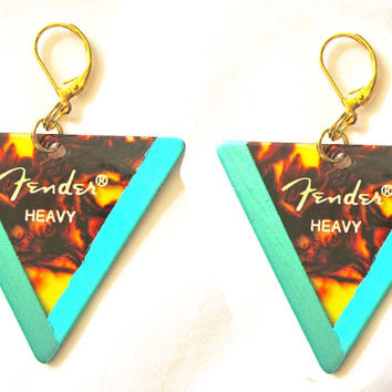 Iridescent & Matte Turquoise Fender Guitar Pick Earrings