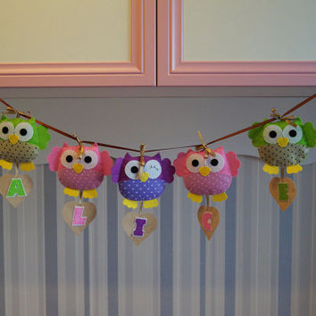 Owl Name Banner Garlands Letters Felt Plush Toy Custom Baby Name Personalized Nursery Party Decor Kids Stuffed Toy Owl Decor Handmade #24