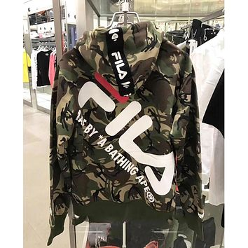 BAPE AAPE X FILA Fashionable Couple Leisure Print Camouflage Hoodie Zipper Sweatshirt Jacket Coat Camouflage