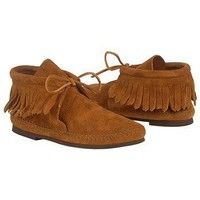 Women's Minnetonka Moccasin  Fringed Boot Hardsole Brown Suede Shoes.com