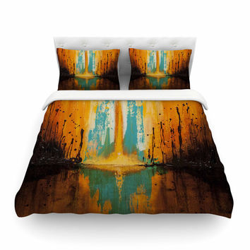 "Steven Dix ""Inception Or Birth"" Orange Black Painting Featherweight Duvet Cover"