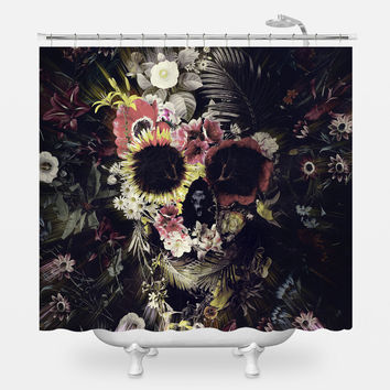 Warped Garden Skull Shower Curtain