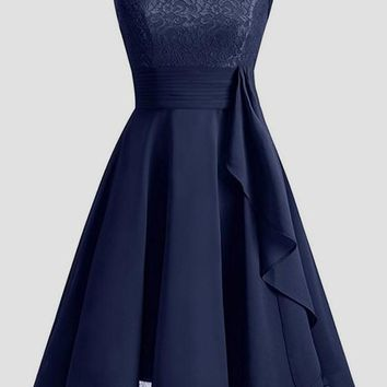 Navy Blue Patchwork Lace Draped Chiffon Round Neck Elegant Party Midi Dress