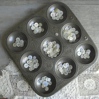 Vintage Ovenex Gem Tin / Round Muffin Pan / Industrial Organizer Storage / Hemisphere Pan / Industrial Decor / Vintage Kitchen