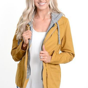 Mustard Hooded Military Jacket