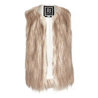 River Island Girls cream faux fur vest