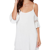 Off-Shoulder Back Cross Mini Dress with Ruffled Sleeve