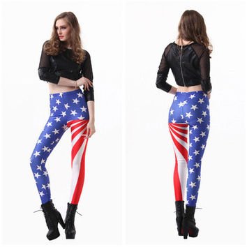 Star American flag digital print design Slim Leggings [9919641740]