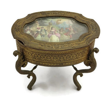 Art Nouveau Trinket Box - Antique, Gilt, Scene in Lid, Footed Jewelry Casket