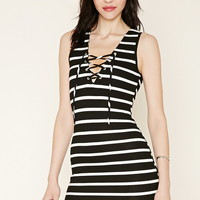 Lace-Up Striped Dress | Forever 21 - 2000177644