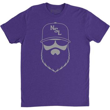 NSL Beard League Men's T-Shirt Purple/Silver