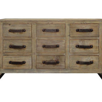 Simple Rough Raw Wood Many Dresser Cabinet with Iron Hardware s1023E