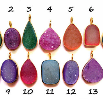 24 kt. Gold Plated Druzy Pendants , 1 piece of multi colour fine quality druzy gem stone Dangle Pendants