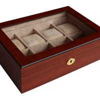 8 Piece (6 + 2) XL Oversized Large Cherry Wood Watch Display Case and Storage Organizer Box
