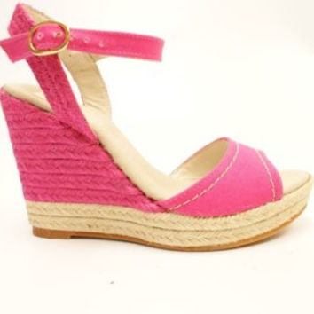 Vidorreta Dalia Fuschia Canvas Platform Wedge Sandals Women's 7.5 M
