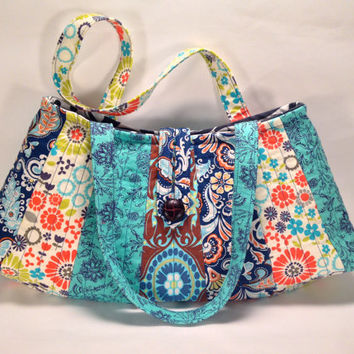 On Sale - 50% Off - Cotton Fabric Handbag, Quilted Shoulder Everyday Bag, Large Hobo Tote, Turquoise, Orange, Green & Blue