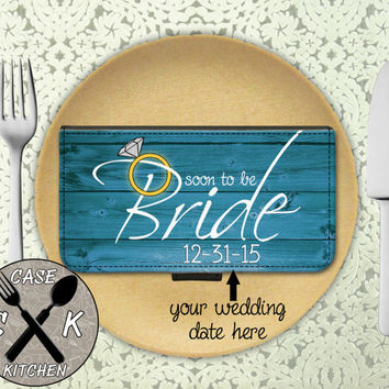 Soon To Be Bride Engaged Engagement Wedding Blue Cute Custom Wallet Phone Case For iPhone 4/4s and iPhone 5/5s/5c and iPhone 6 and 6 Plus