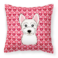 Westie Hearts Fabric Decorative Pillow BB5296PW1414