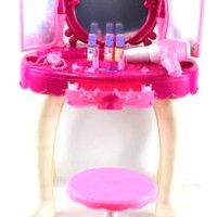Kids Authority Glamorous Triple Mirror Pretend Play Battery Operated Toy Beauty Mirror Vanity Play Set w/ Flashing Lights, Music, Accessories