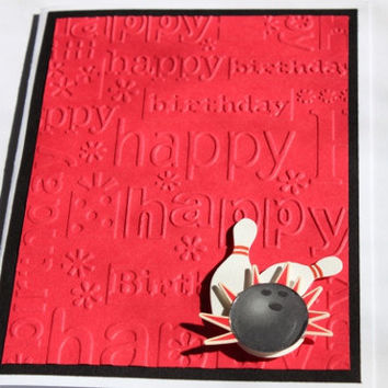 Bowling Birthday Card, Embossed