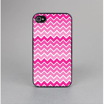 The Pink & White Ombre Chevron V2 Pattern Skin-Sert Case for the Apple iPhone 4-4s