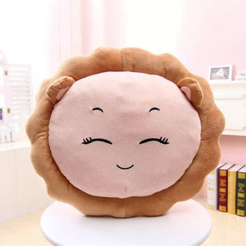 Circular Cushion Cartoon Lion Animal Backrest Emoji Pillows