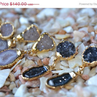 ON SALE DRUZY Dangles /// Gemstone Gold Dipped Earrings