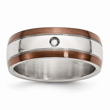 Men's Stainless Steel Chocolate IP-plated Diamond Polished Wedding Band Ring