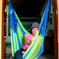 Neon Green and Electric Blue Almanza Hammock Chair Steve Miller edition