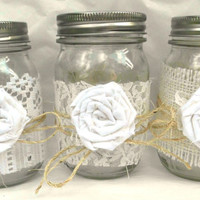 Wedding Decor, 5 Mason Jar Lace Wraps, Burlap, Ivory, Fabric Flower, Ivory, Vintage, Shabby Chic, Centerpiece, Wedding, Rustic, Custom