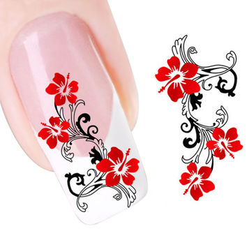 new fashion Stickers & Decals DIY Red Flowers Design Nail Tip Art Water Transfers Decal Sticker