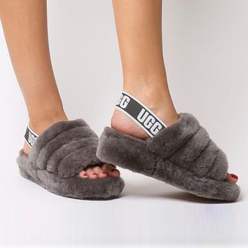 """""""UGG"""" Hight Quality Winter Fashionable Women Warm Fluff Yeah Slippers Shoes Coffee I/A"""