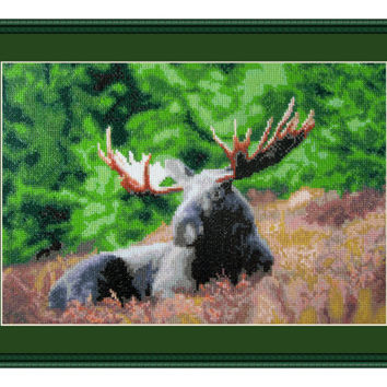 Magnificent, Cross Stitch Kit Moose, deer, forest