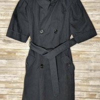 BCBG Max Azria Women's Half Sleeve Trench Coat Jacket -Navy Blue- Small