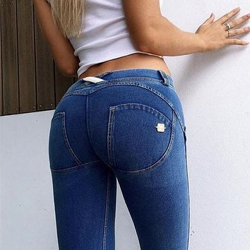 Chicanary Skinny Push Up Freddy Jeans Women Low Waist Jeggings Shaping Effect Denim Pencil Pants with Silicone Bands